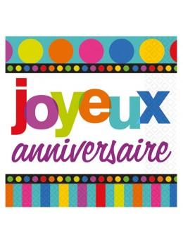 """16 serviettes """"joyeux anniversaire"""" pois et rayures"""