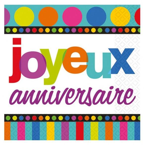 """16 serviettes """"joyeux anniversaire"""""""