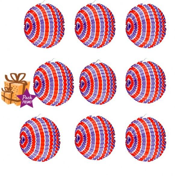 12 Lampions ballons tricolore