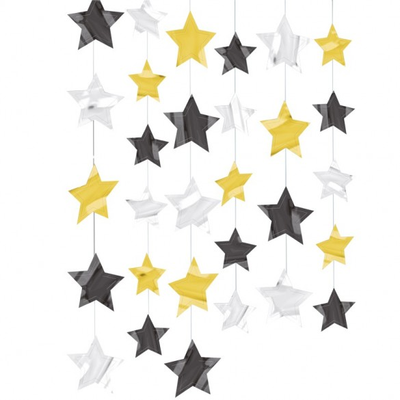 6 guirlandes verticales étoiles