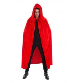 Cape capuche velours rouge luxe
