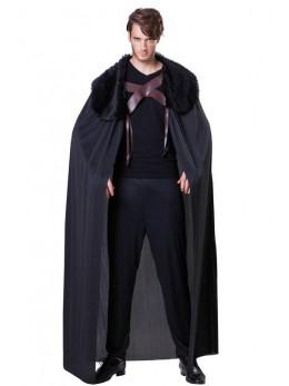 Déguisement cape chevalier fourrure noir