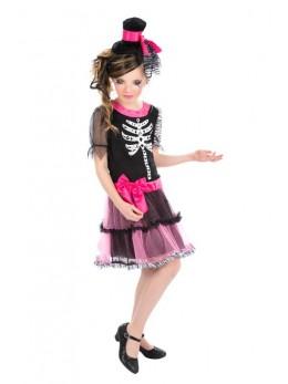Déguisement robe impression squelette rose