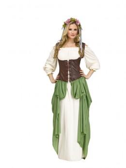 Déguisement princesse médiévale deluxe verte