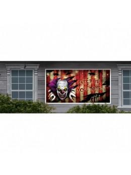 déco bannière Halloween clown psycho