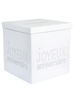 urne tirelire anniversaire blanche