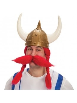 Perruque et moustache de viking rouge