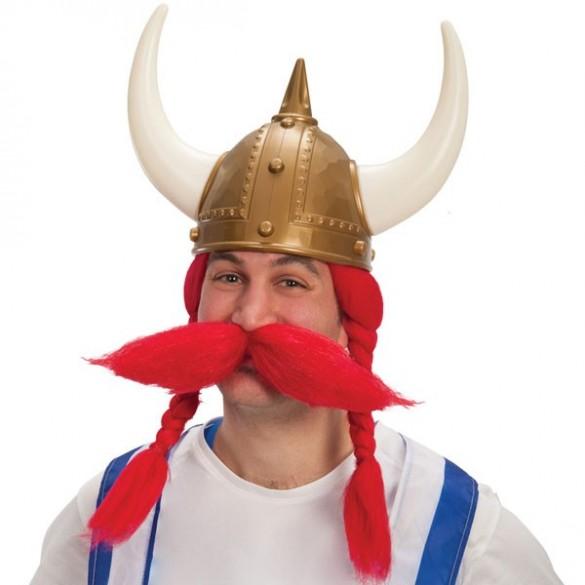 Perruque et moustache de viking rouge