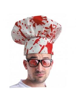 Chapeau toque de cuisinier ensanglanté