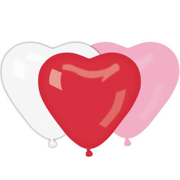 10 Ballons coeurs blanc rouge rose