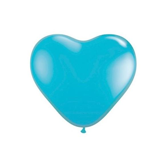 50 ballons coeur bleu lagon