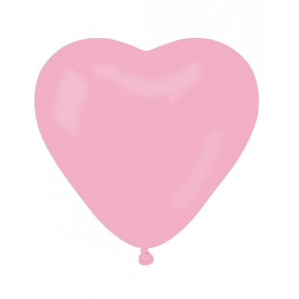 10 ballons coeur rose pale