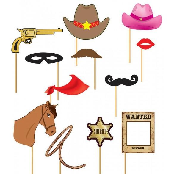 Kit photobooth 12 accessoires western   Fête en folie 5030101ddec