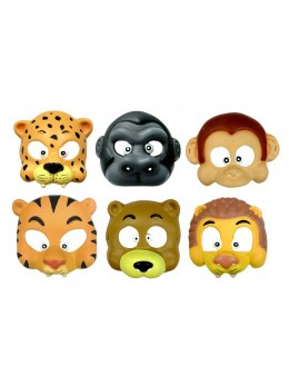 6 Masques enfant animaux de la jungle souples