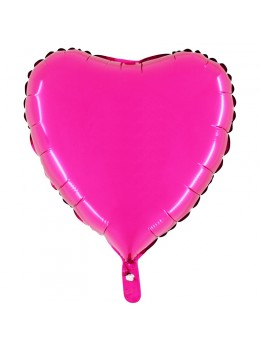 Ballon alu coeur fuchsia