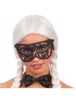 Masque loup vénitien dentellé noir