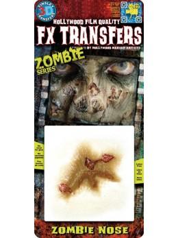 Maquillage blessure transfert à l'eau nez de zombie