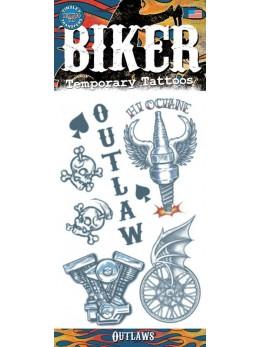 planche tatouage temporaire biker