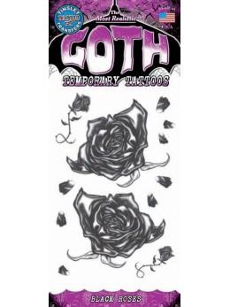 tatouage temporaire gothique roses noires