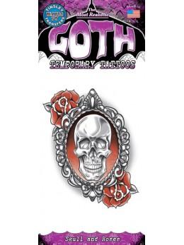 tatouage temporaire gothique crane et roses