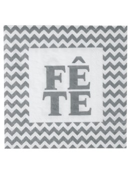 """20 serviettes """"fête"""" argent"""
