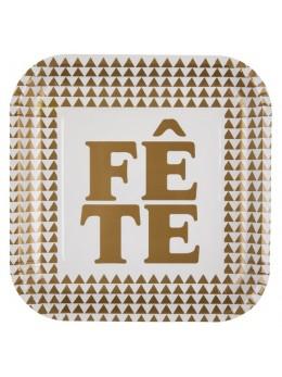 """10 assiettes """"fête"""" or"""