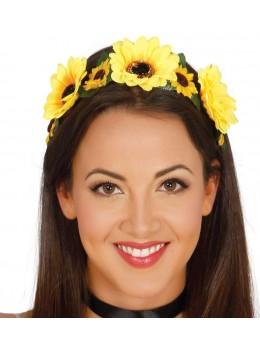 Diadème couronne de fleurs jaunes