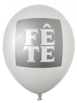 """8 ballons """"fête"""" argent"""