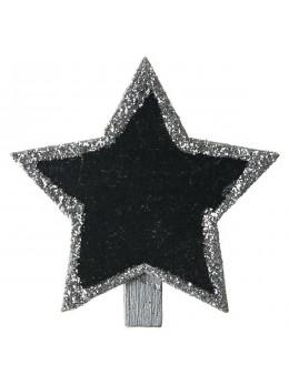 4 ardoises étoiles paillettes argent sur pince
