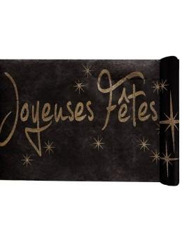 """Chemin de table """"Joyeuses Fêtes"""" noir et or"""