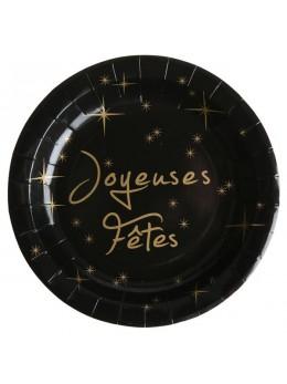 """10 assiettes """"Joyeuses Fêtes"""" noir et or"""