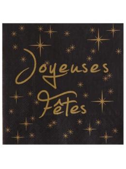 """20 serviettes """"Joyeuses Fêtes"""" noir et or"""