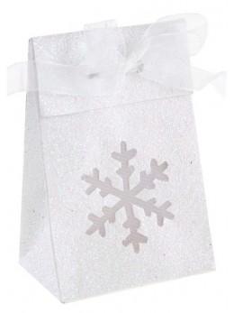 Boîte flocon pailletée blanc