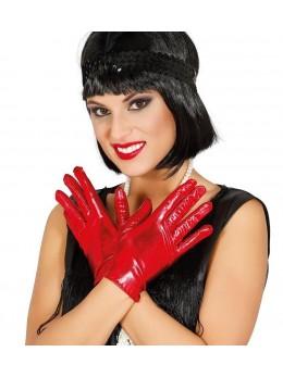 gants métallique rouge