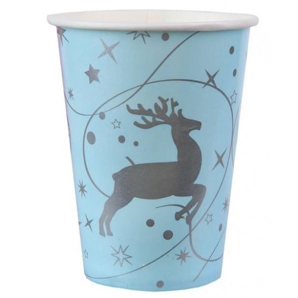 10 gobelets renne bleu ciel et argent