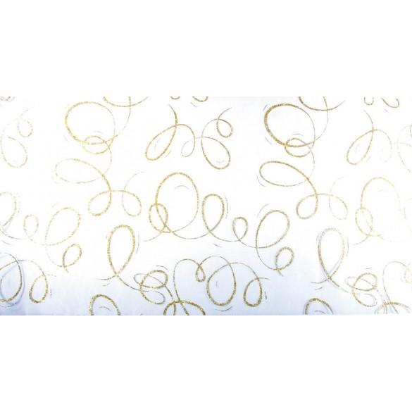 Chemin de table serpentins blanc or