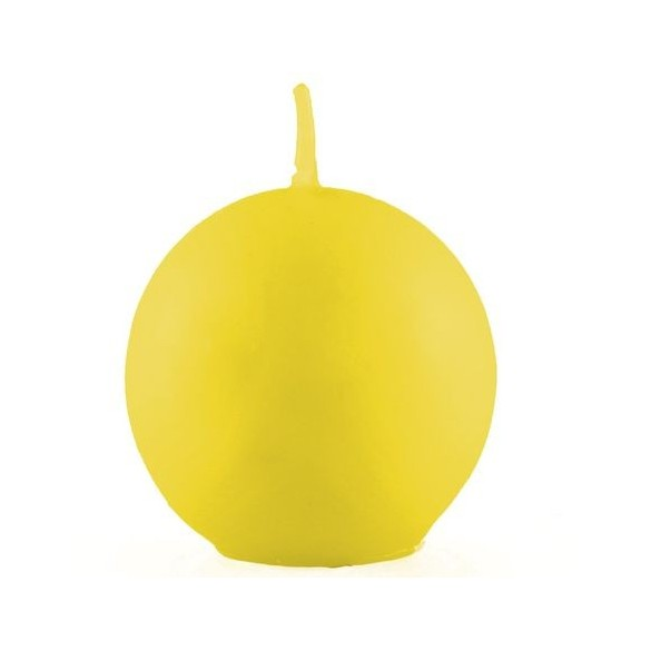 Bougie boule jaune 7.5cm