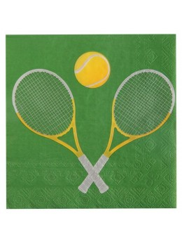 20 serviettes lunch raquette de tennis