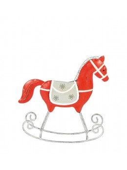 Cheval bascule métal rouge 16cm