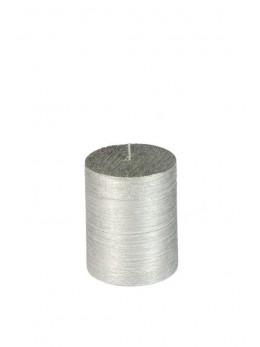 Bougie cylindrique argent métallisé