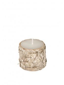 Set 3 bougies cylindrique écorce