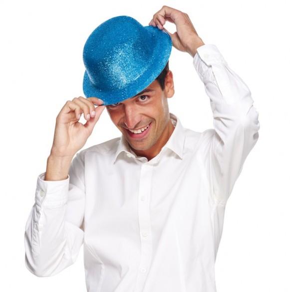 Chapeau melon paillettes bleu