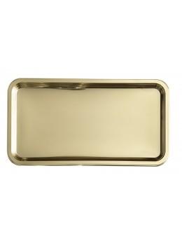 Plat rectangulaire métallisé or 46cm