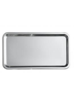 Plat rectangulaire métallisé argent 46cm