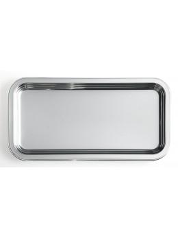 Plat rectangulaire métallisé argent 35cm