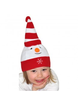 Bonnet bébé en polaire bonhomme de neige
