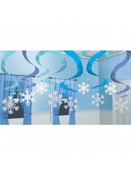 15 Suspensions flocons blanc et bleu