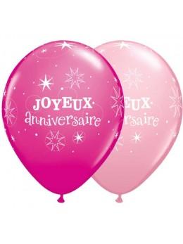 10 Ballons luxe joyeux anniversaire fuchsia et rose