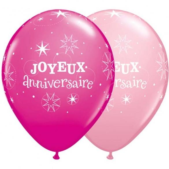 10 Ballons Joyeux Anniversaires Fuchsia Et Rose Fete En Folie