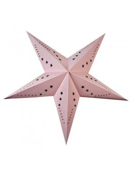 Lanterne étoile papier rose pale